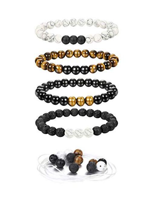 JOERICA 4 Pcs Tiger Eye Bead Bracelet for Men Women Lave Rock Stone White Turquoise Yoga Beads Bracelets Extra Beads Gift