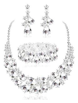JOERICA Crystal Bridal Jewelry Set Rhinestone Choker Necklace Bracelet and Earrings Set for Women Bridesmaid Wedding Jewelry