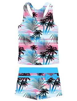 Belovecol Girls Swimsuits Two Piece Tankini Bathing Suits Boyshort Summer Beach Rash Guard Swimwear for 4-11T