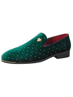 CMM Men's Pointed Toe Rivet Dress Shoes Glitter Loafers Plus Size