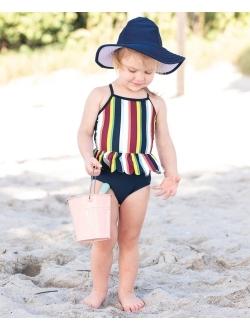 Infant/toddler Girls Peplum Short Sleeve One Piece Swimsuit Upf 50+ Sun Protection