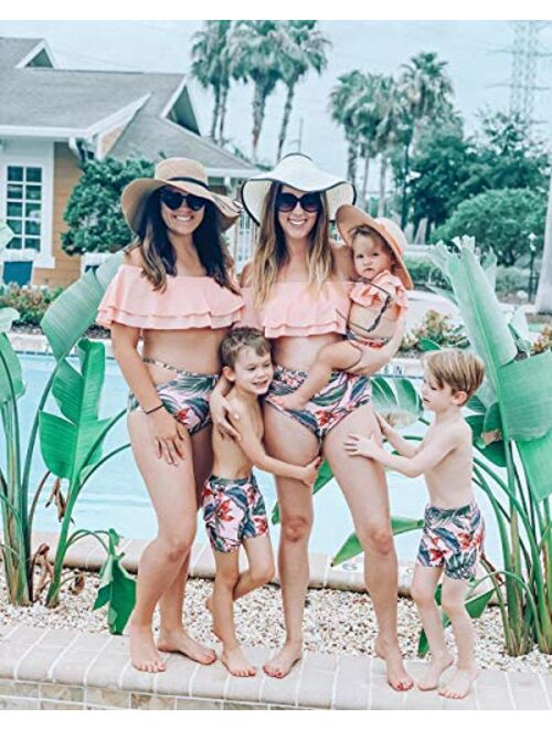 IFFEI Family Matching Swimwear Two Pieces Bikini Set Newest Printed Ruffles Mommy and Me Bathing Suits