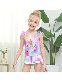 MHJY Girls One Piece Swimsuits Swimwear Unicorn Mermaid Bathing Suit Ruffle Beachwear with Pompoms