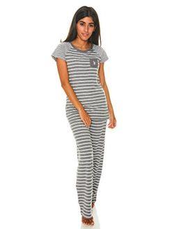 Womens Short Sleeve Shirt And Pajama Pants With Pockets Lounge Sleepwear Set