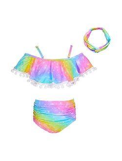 ICOSY Girls Swimsuit 2 Piece Bathing Suit for Girls Bikini Set Swimwear Toddler Ruffle Swimming Suit Unicorn Beachwear