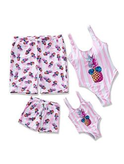 IFFEI Family Brother Sister Siblings Matching Swimsuit Pineapple Printed Striped Monokini One Piece Bathing Suit