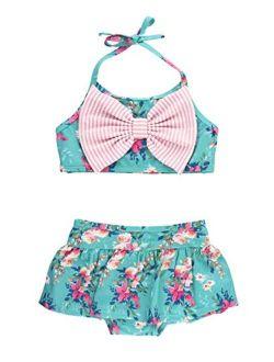 Baby/toddler Girls Cropped Peplum Tankini 2 Piece Swimsuit W/ruffles