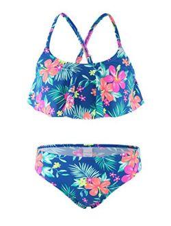 Girls Two Piece Swimsuits Rainbow Bikini Sets Adjustable Strap Bathing Suits