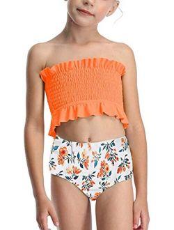 Lemoonlemone Girl's Bikini Set Crop Flounce Two Piece Swimsuits Kids Haler Bathing Suits