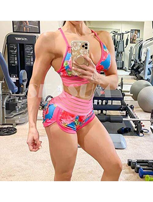 SEASUM High Waist Lounge Yoga Shorts for Women Butt Lifting Workout Sports Gym Shorts Dance Costume Outfits Booty Clubwear