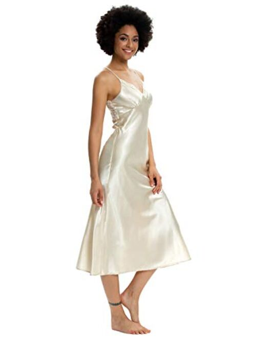Alcea Rosea Womens Sleepwear Lace Lingerie Chemises V Neck Nightgown Sexy Long Sleep Dress Sleeveless Lace for Women Elegant