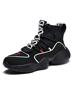 BADIER Women's Balenciaga Look High Top Mesh Casual Walking Running Sport Sock Shoe Sneakers