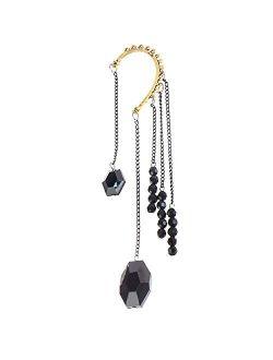 VAGA Dangling Earrings For Women, Elegant Black Colored Circular Cuff Earring With 5 Long Tassels Dangles And Beads, Long Earrings For Women And Girls