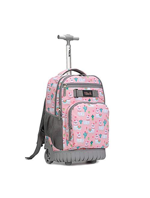 Tilami Rolling Backpack 18 inch Wheeled Laptop Backpack School College Student Travel Trip Boys and Girls