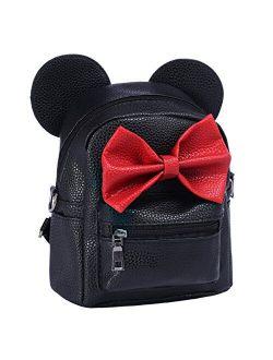 New Women Kid Girls Cartoon PU Leather Mouse Ear Bow Backpack Shoulder School Mini Travel Satchel Casual Bag Rucksack