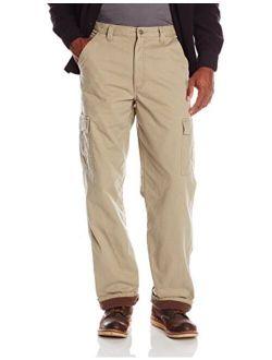 Authentics Men's Fleece Lined Cargo Pant, British Khaki Twill, 32w X 34l