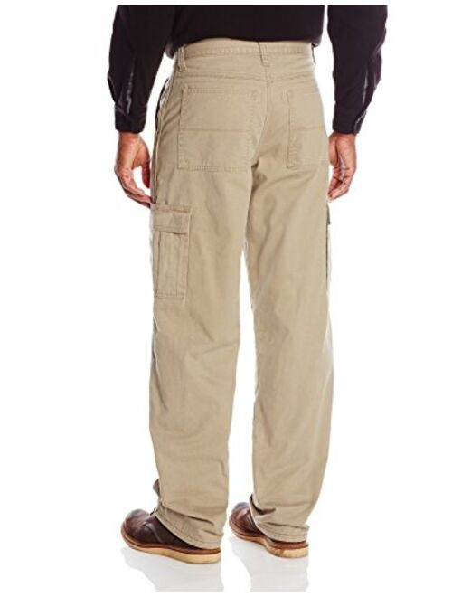 Wrangler Authentics Men's Fleece Lined Cargo Pant, British Khaki Twill, 32W x 34L