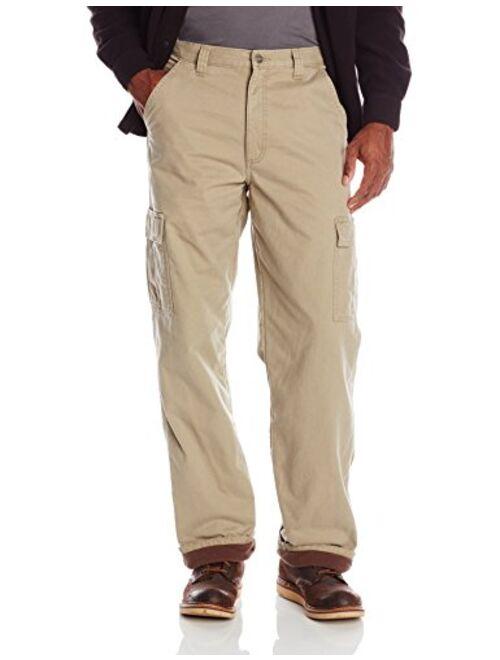 Wrangler Authentics Men's Fleece Lined Cargo Pant, British Khaki Twill, 36W x 32L
