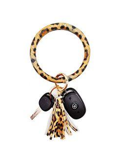 wristlet keychain bracelet, Leather Tassel Key Ring Keychain Bangle Circle Keyring Bracelets for Women and Girls