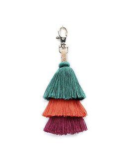 BRUCEWANG Pom Pom Tassel Colorful Bohemian Handbag Charms Rainbow Key Chain Cotton Tassel Fashion Accessories for Women