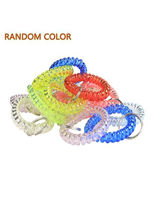 BIHRTC Transparency Flexible Spiral Coil Stretchable Spring Wristband with Key Ring Keychain Bracelets for Office, Workshop, Shopping Mall