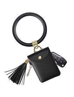 SS Keychain Wallet Bracelet,Key Ring Bracelet Wristlet Bangle Circle Leather Tassel Key Ring Chain for Women