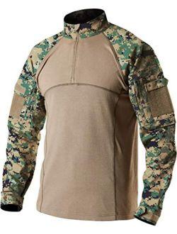 Men's Combat Shirt Tactical 1/4 Zip Assault Long Sleeve Military Bdu Shirts Camo Edc Top