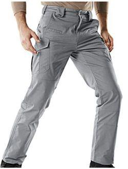 Men's Flex Stretch Tactical Pants, Water Repellent Ripstop Cargo Pants, Lightweight Edc Outdoor Hiking Work Pants