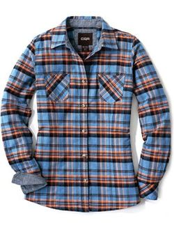 Women's Plaid Flannel Shirt Long Sleeve, All-cotton Soft Brushed Casual Button Down Shirts