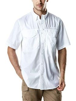 Men's Short Sleeve Work Shirts, Ripstop Military Tactical Shirts, Outdoor Upf 50+ Breathable Button Down Hiking Shirt