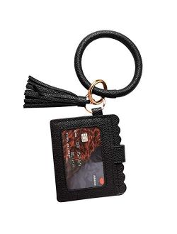 Multifunctional Wristlet Bracelet Keychain Wallet, ID Card Holder, PU Bangle Key Ring Card Purse Credit Card Pocket Tassel for Women