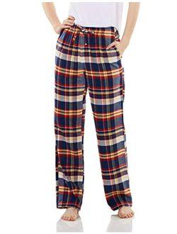Women's 100% Cotton Flannel Plaid Pajama Pants, Brushed Soft Lounge & Sleepwear Pj Bottoms With Pockets