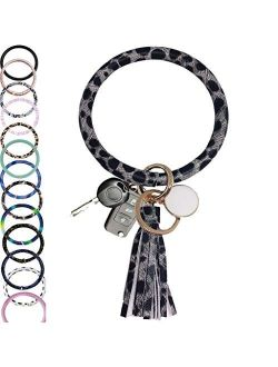 "CYLMFC Wristlet Keychain Bracelet Bangle Keyring Leather 3.2"" Circle Key Ring Tassel Bracelet Holder For Women Girl"