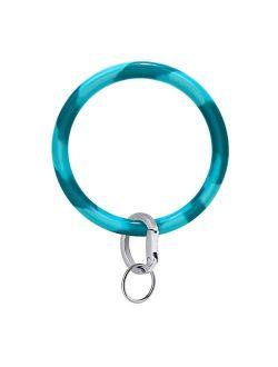 "Townshine Wristlet Keychain Bracelet Bangle Key Ring 3.8"" Round Key Ring Soft Silicone Car Key Chain Holder for Women"
