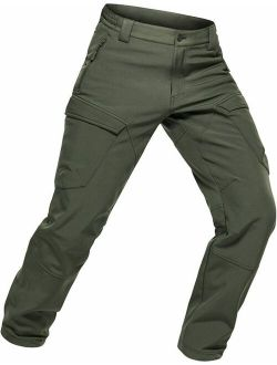 Men's Fleece Lined Tactical Cargo Pants, Water Repellent Softshell Work Pant