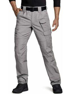 Men's Tactical Pants, Water Repellent Ripstop Cargo Pants, Lightweight Edc H
