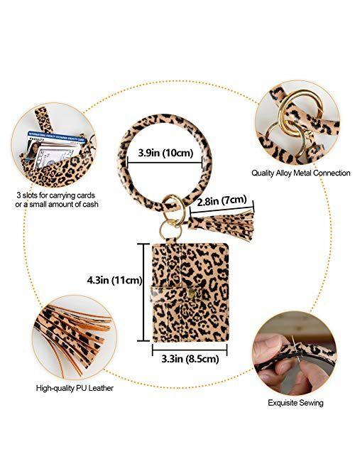 Keychain Wallet Bracelet with Card Holder for women|3 Card Slots|PU Leather Wristlet Keyring Bangle