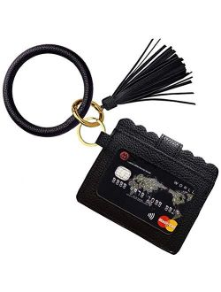 Bracelet Keychain Wallet, Minta PU Leather Bangle Key Ring Card Holder Wristlet Key Chain Bracelet Wallet for Women Girls