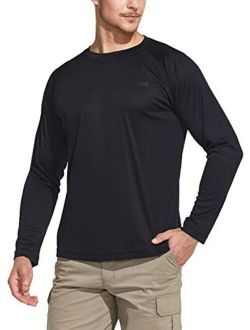 Men's Upf 50+ Outdoor Long Sleeve Shirts, Uv Sun Protection Loose-fit Water T-shirts, Running Workout Shirt