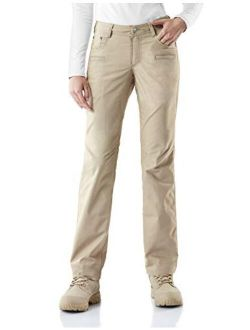 Women's Flex Stretch Tactical Pants, Water Repellent Ripstop Work Pants, Elastic Waist Straight/cargo Pants With Pockets