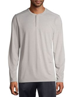 Men's And Big Men's Long Sleeve Performance Henley, Up To Size 5xl