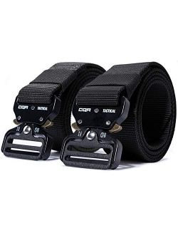 1 Or 2 Pack Tactical Belt, Heavy Duty Belt, Military Style Nylon Webbing Edc Quick-release Metal Buckle