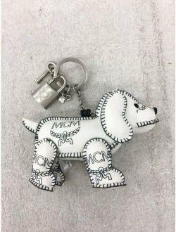 MCM White Dog Bag Charm Key Ring Keychain No Box Excellent
