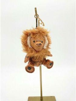MCM Brown Lion Bag Charm Key Ring Keychain No Box Excellent