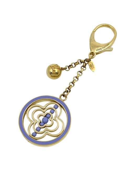 Louis Vuitton Worley Flower Logo Bag Charm Key Ring Key Holder Gold Plated G...