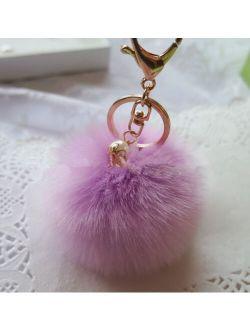 2Pcs Lavender Fur Ball PomPom Cell Phone Keychain Pendant Handbag Charm Key Ring