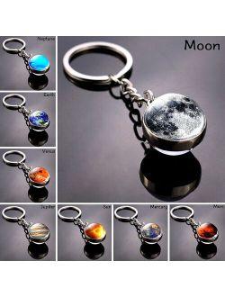 Keyring Double Side Glass Ball Pendant Keychain Planet Galaxy Nebula Key Chain