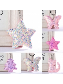 Cute Animal Handbag Car Pendant Keychain Sequins Glitter Charm New Gifts