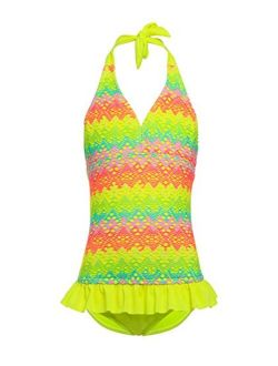 BELLOO Girls One Piece Swimsuits, Girls' Halter Rainbow Crochet Ruffle Bathing Suits Swimwear
