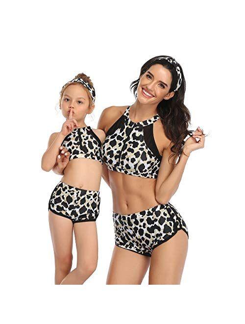 PURFEEL Womens High Waist Swimwear Girls Swimsuit Mum and Me Matching Swimsuit